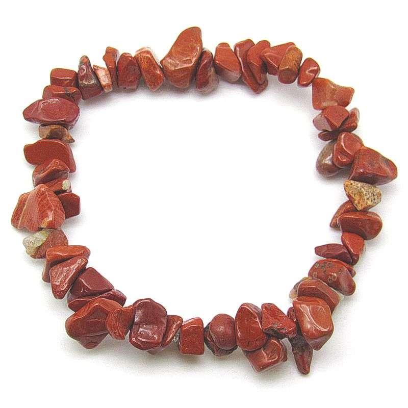 Red jasper polished chip bracelet.