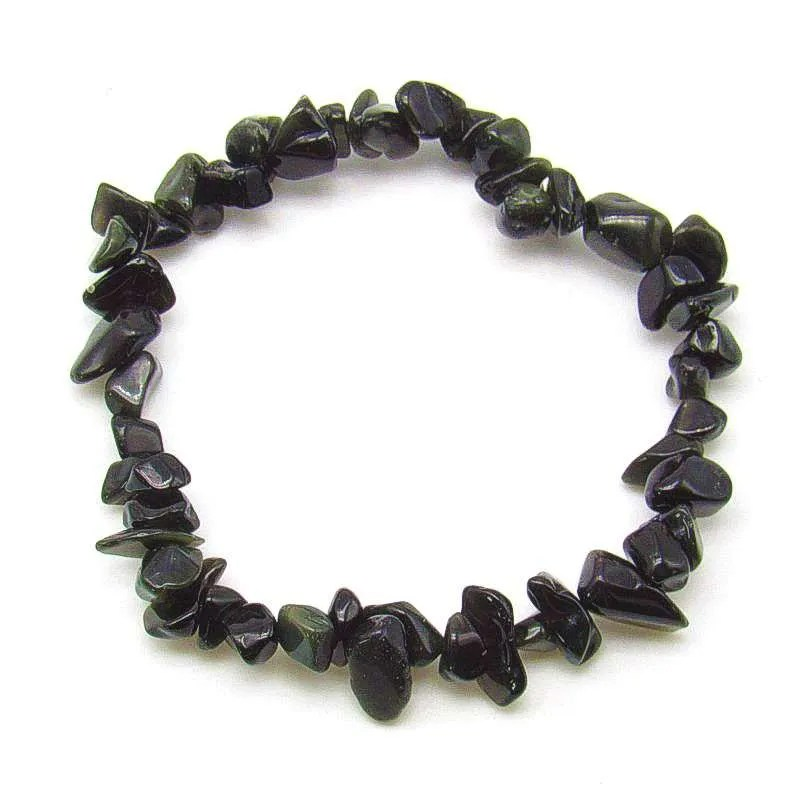 Mixed obsidian chip bracelet.