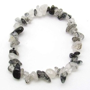 Tourmalinated quartz chip bracelet.