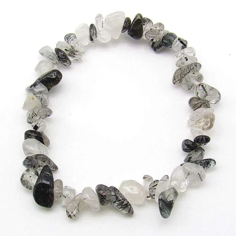 Tourmalinated quartz chip bracelet.
