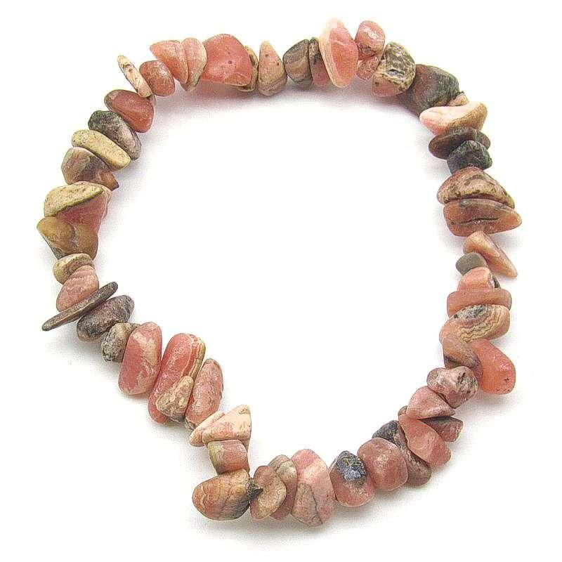 Matte rhodochrosite chip bracelet.