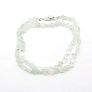 "16"" aquamarine flat round bead necklace."