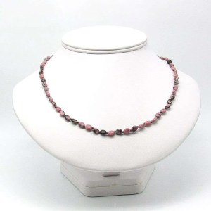 """18"""" rhodonite oval bead necklace."""