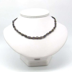 "16"" iolite rectangular bead necklace."