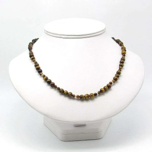 """18"""" golden tiger's eye 6mm and 4mm round bead necklace."""