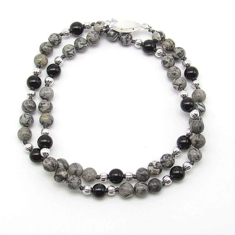 """18"""" silver crazy lace and black tourmaline 6mm round bead necklace."""