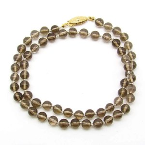 "18"" smoky quartz 6mm round bead necklace."