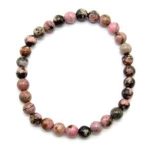 Rhodonite with matrix 6mm bead bracelet