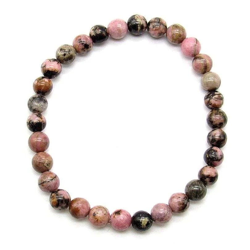 Rhodonite with matrix 6mm bead bracelet