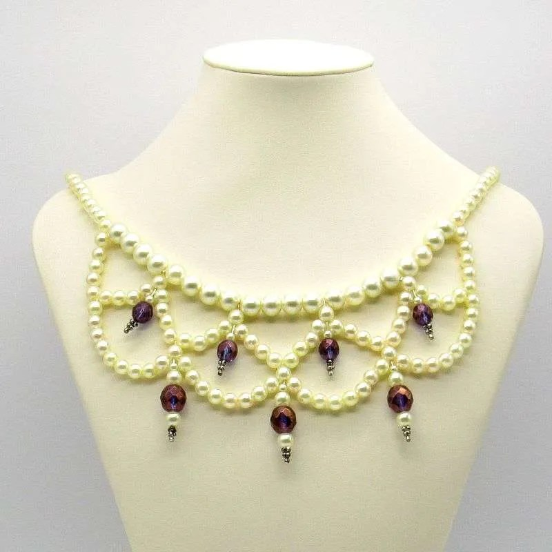 Purple faceted beads and pearls semi-choker necklace