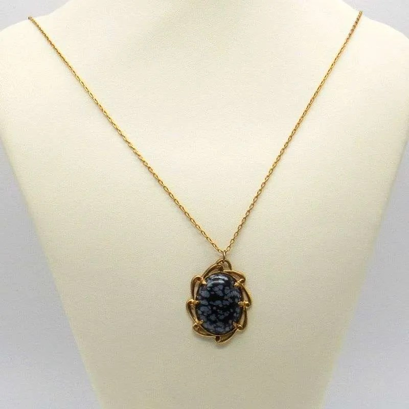 Snowflake obsidian cabochon necklace antique gold
