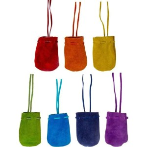 Suede leather pouches with drawstring