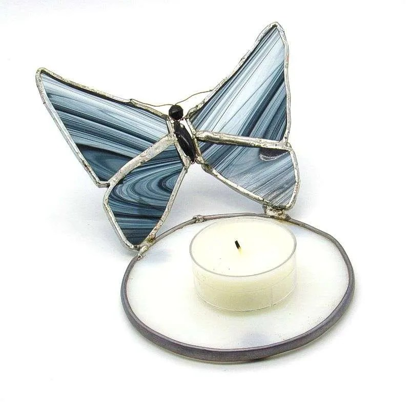 Stained glass grey butterfly tea light candle holder.