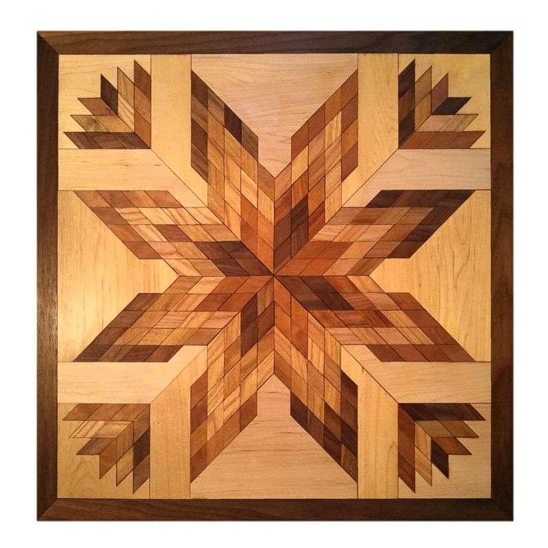Hardwood quilt block wall hanging.