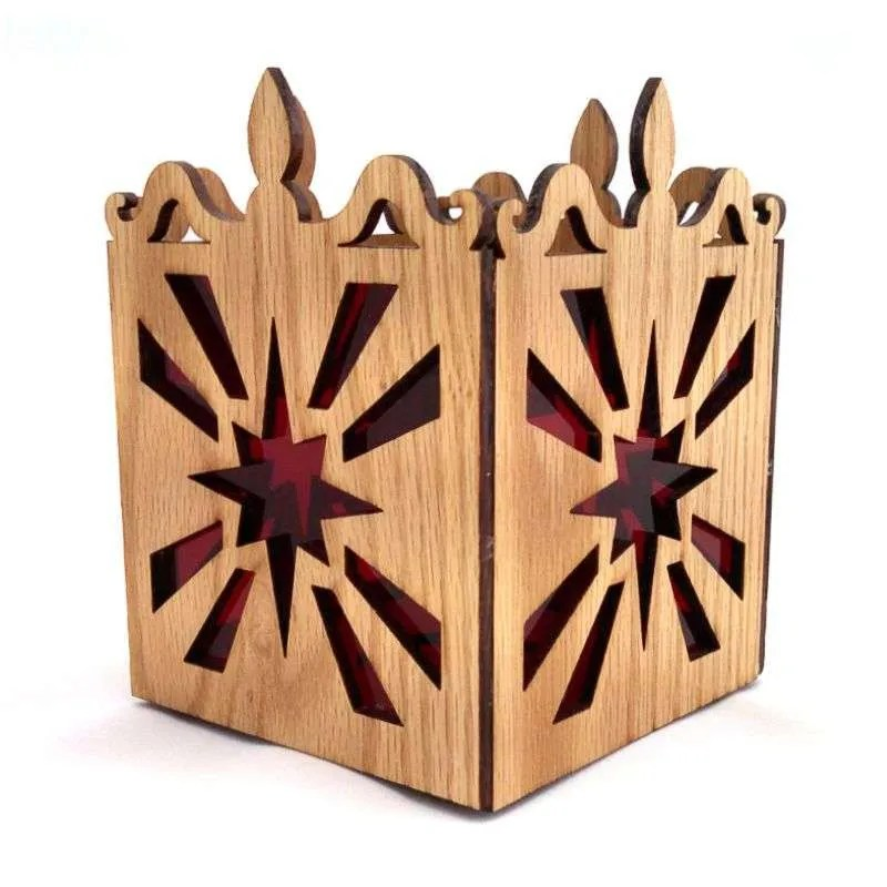 Oak laser cut tea light candle holder starburst pattern-red.
