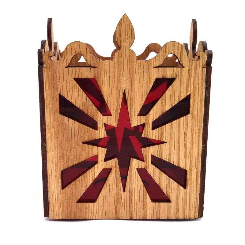 Oak laser cut tea light candle holder starburst pattern-red.
