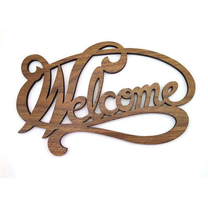 Walnut laser carved welcome sign.
