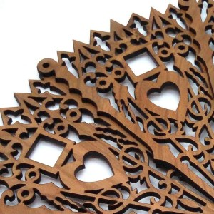 Decorative hardwood fan-square and heart pattern.