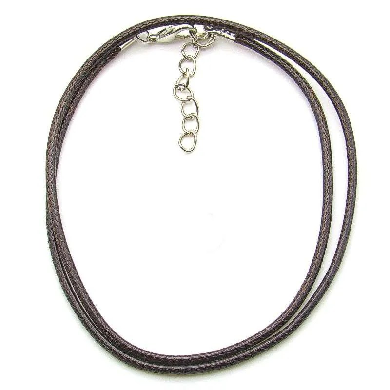 Imitation leather necklace cord, 18 inch adjustable-brown.