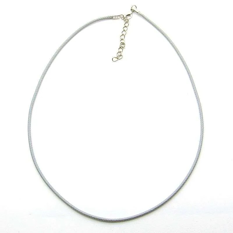 Imitation leather necklace cord, 18 inch adjustable-grey.