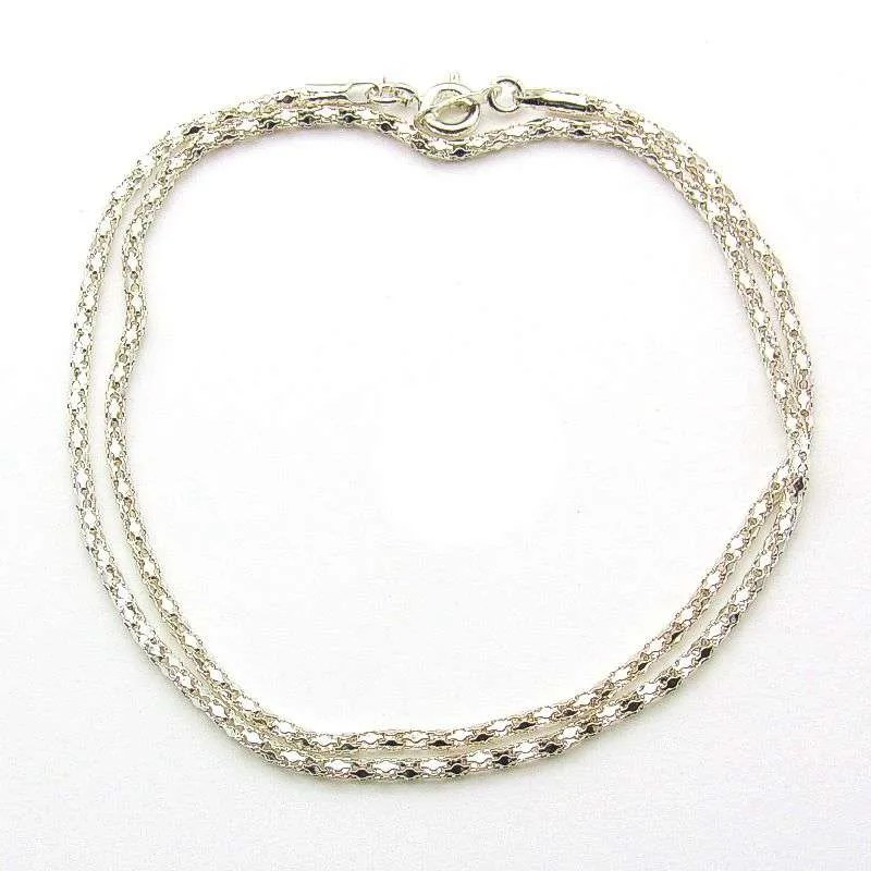 Silver plated steel diamond pattern necklace chain-18 inch.