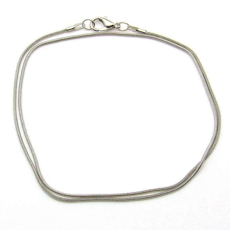 Silver plated steel snake necklace chain-18 inch.