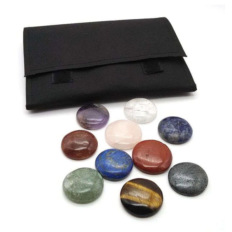 Chakra gemstone disk set with carrying case.