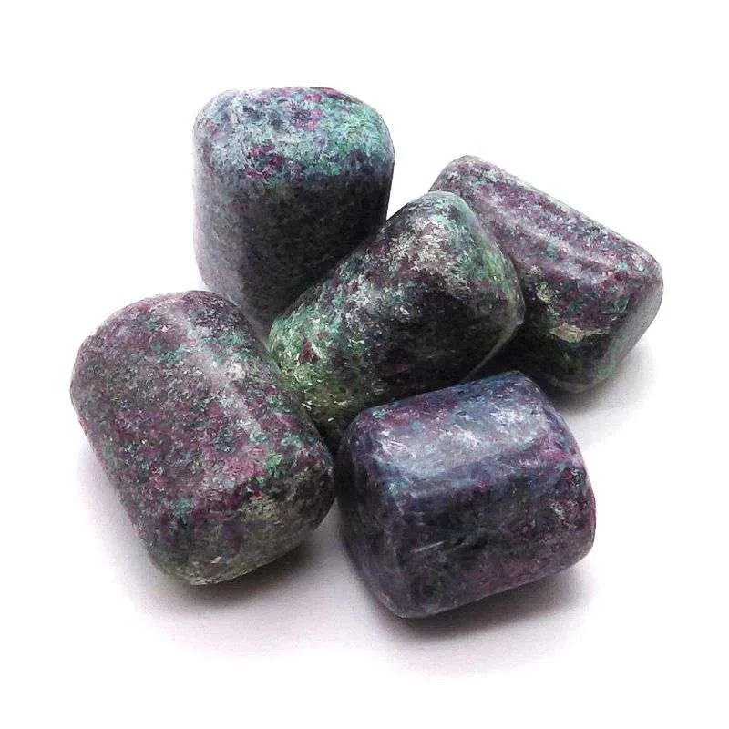 Tumbled ruby in zoisite.