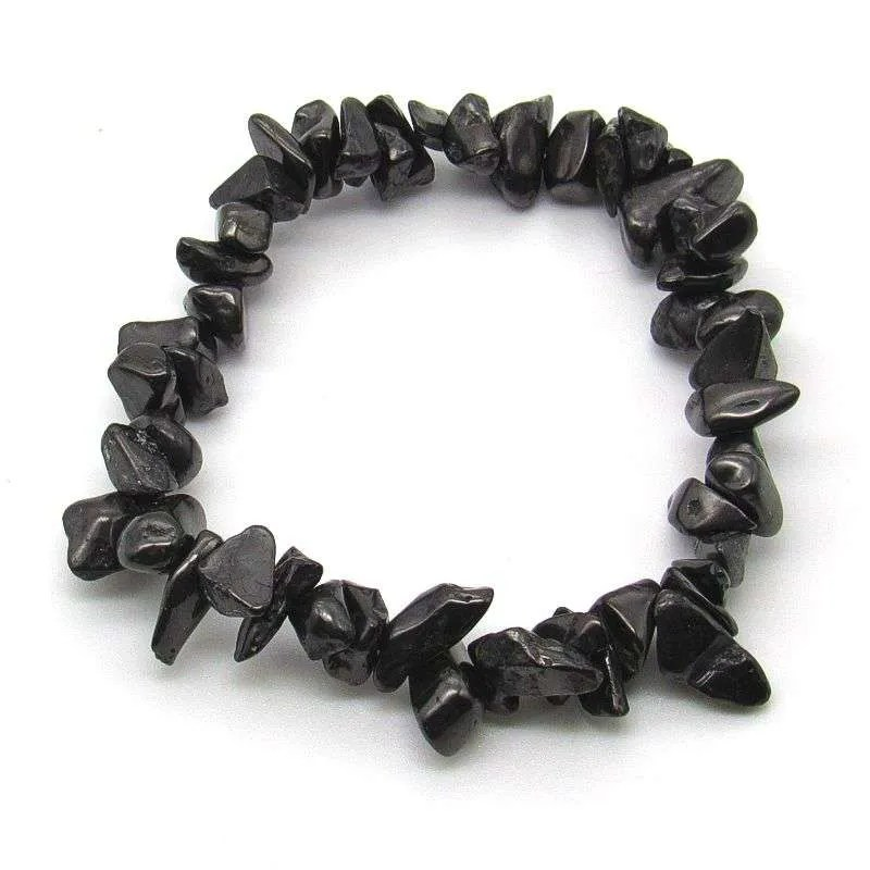 Shungite chip bead bracelet