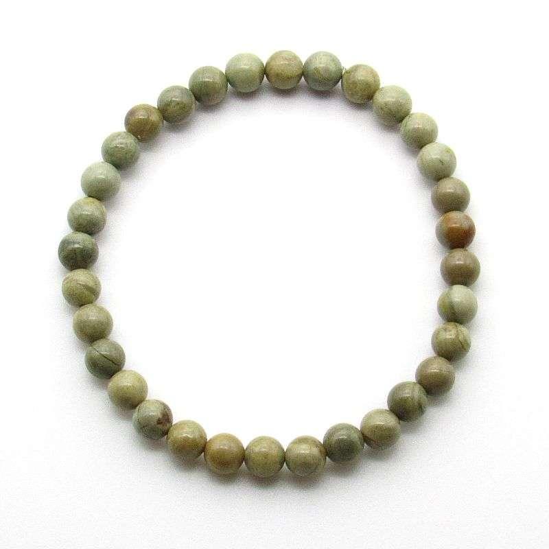 Silver mist jasper 6mm gemstone bead bracelet.