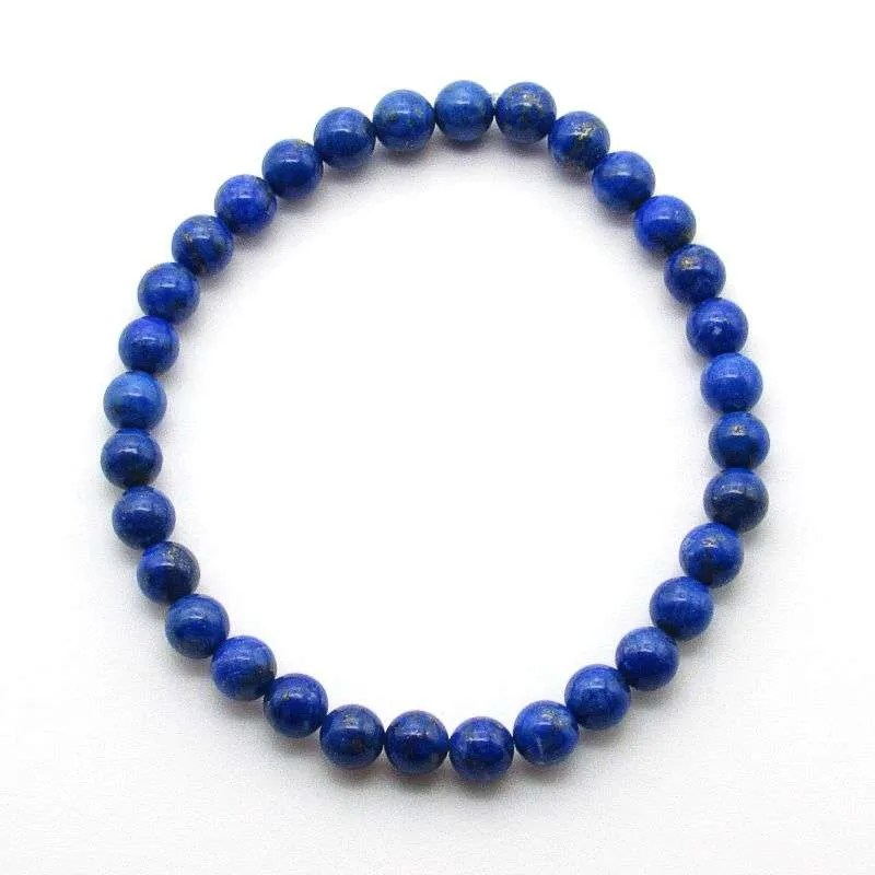Denim lapis lazuli 6mm gemstone bead bracelet.