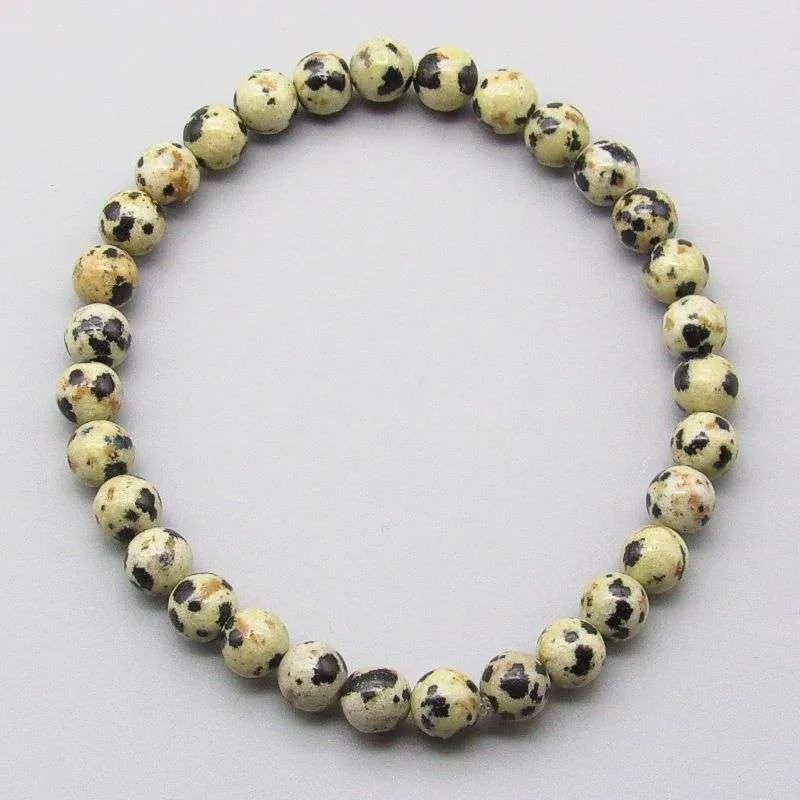 Dalmation Jasper 6mm gemstone bracelet.