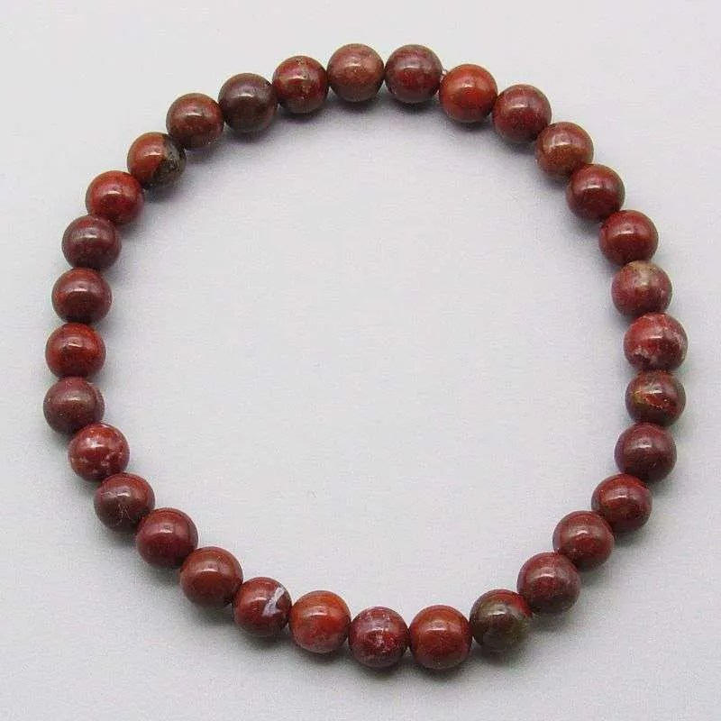 Brecciated Jasper 6mm gemstone bracelet.