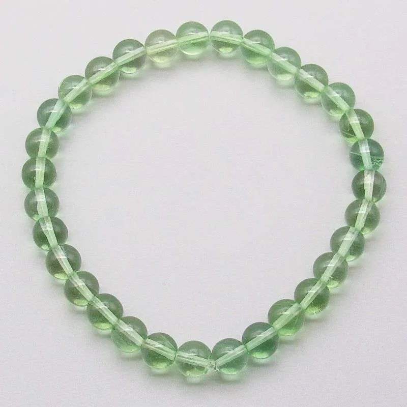 Green fluorite 6mm gemstone bead bracelet.