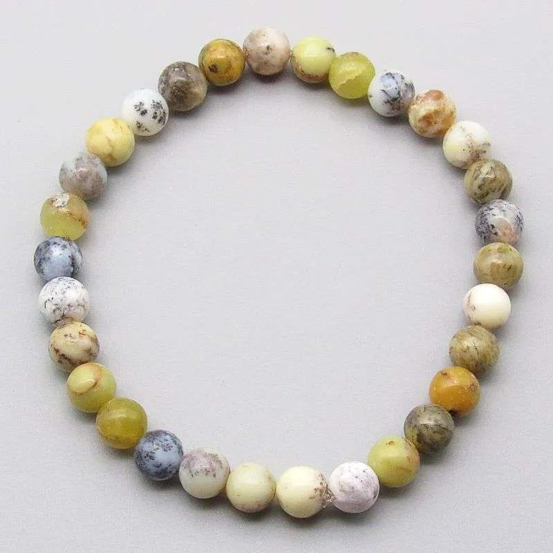 Yellow moss agate 6mm gemstone bead bracelet.