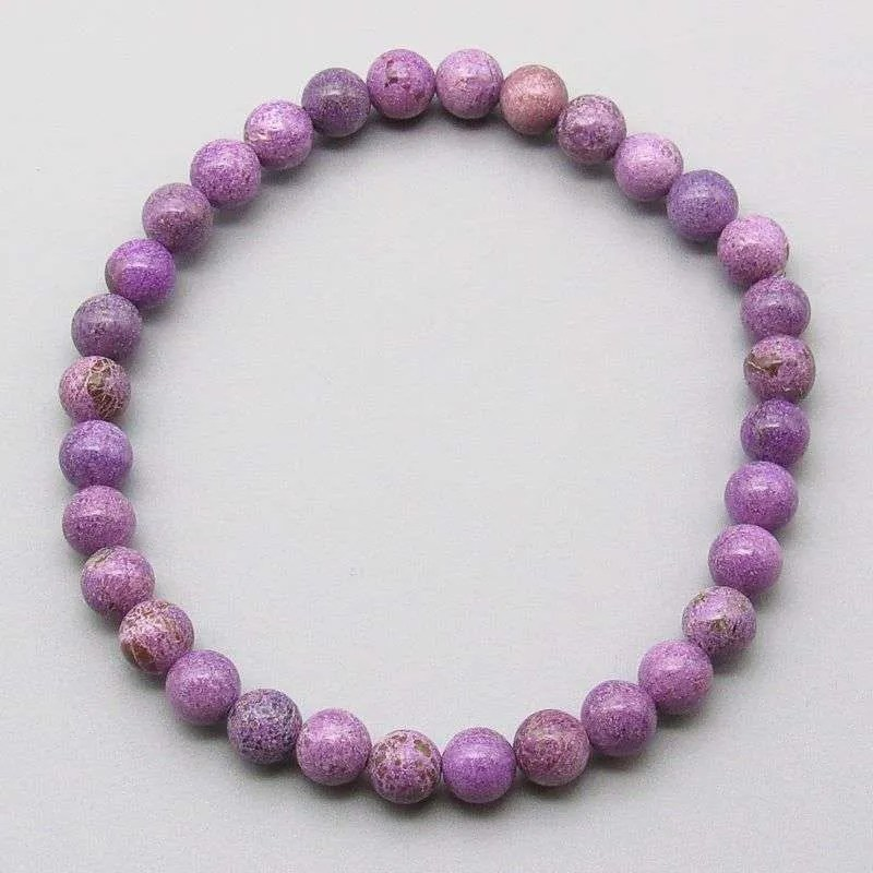 Charoite 6mm gemstone bead bracelet.