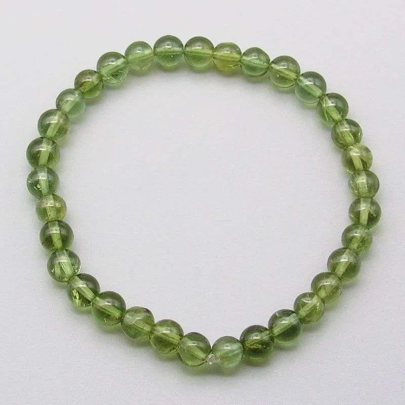 Green apatite 6mm gemstone bead bracelet.