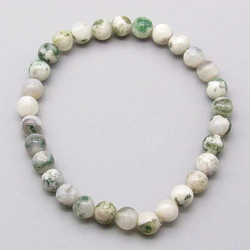 Tree agate 6mm gemstone bead bracelet.