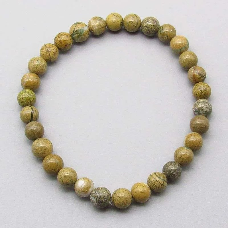 Verdite 6mm gemstone bead bracelet.