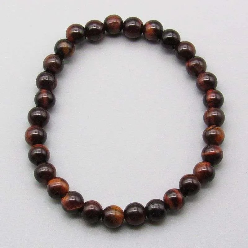 Red tiger eye 6mm gemstone bead bracelet.
