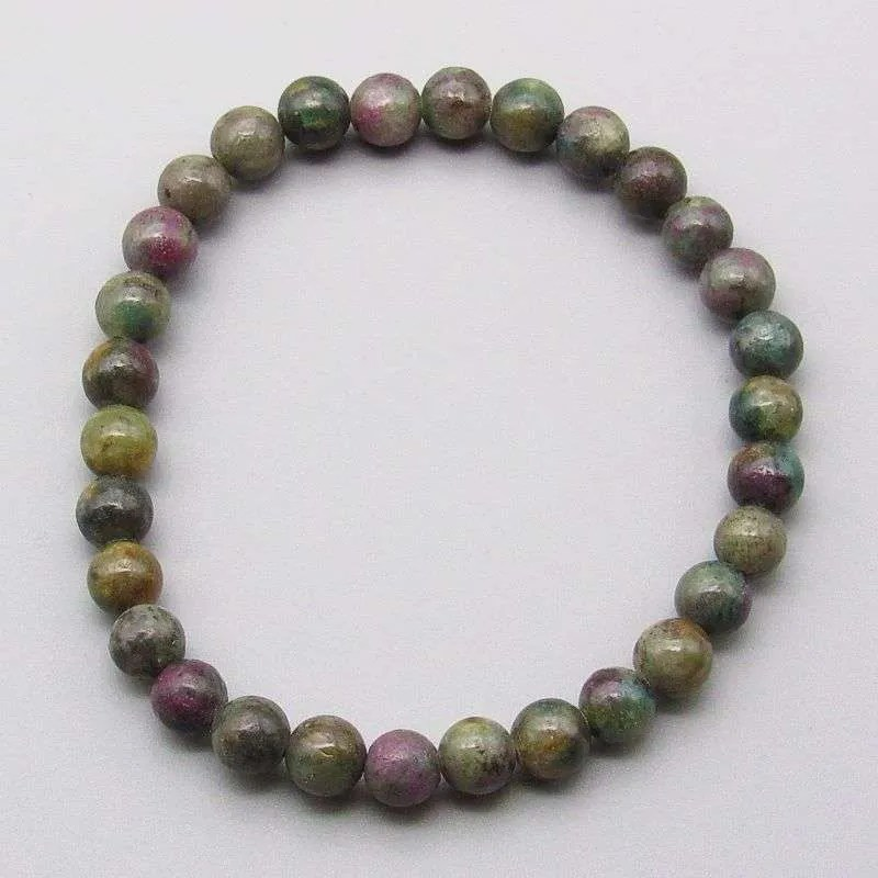 Ruby in kyanite 6mm gemstone bead bracelet.