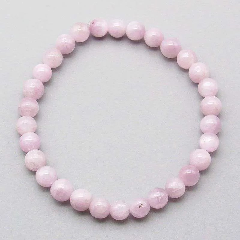 Kunzite 6mm gemstone bead bracelet.