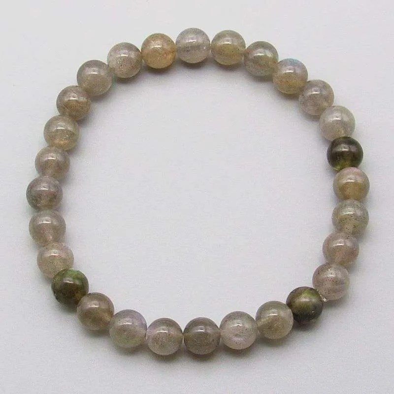 Labradorite 6mm gemstone bead bracelet.