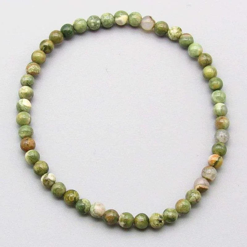 Rhyolite 4mm gemstone bead bracelet.