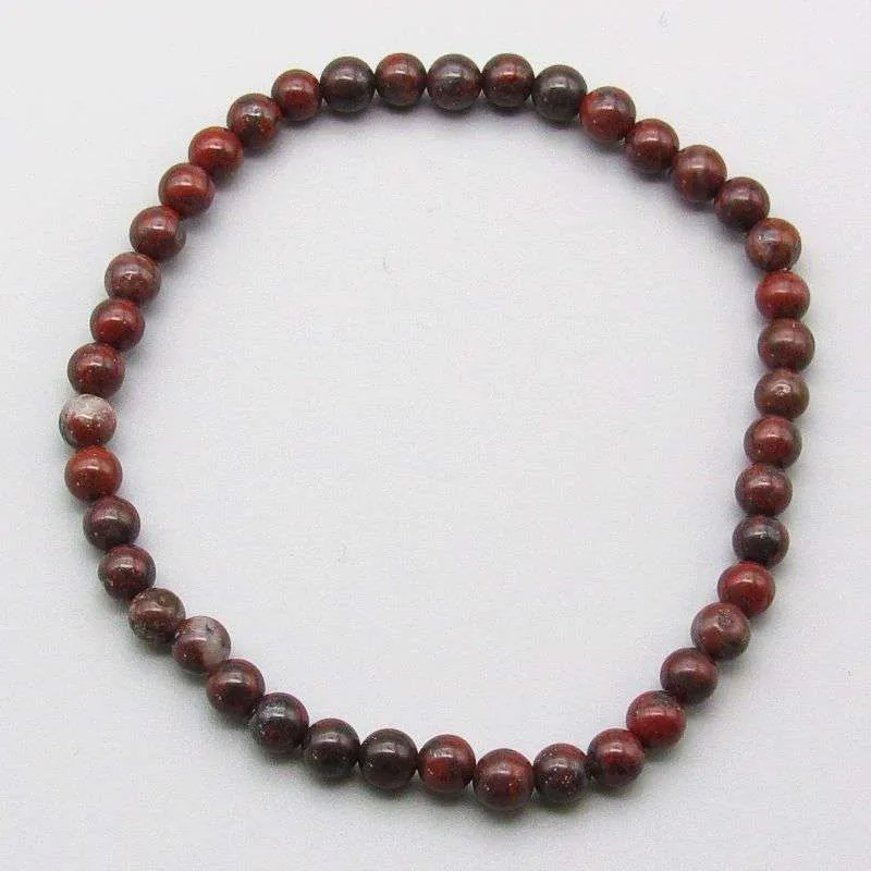 Brecciated jasper 4mm gemstone bead bracelet.