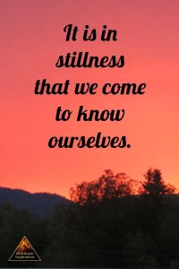It is in stillness that we come to know ourselves.