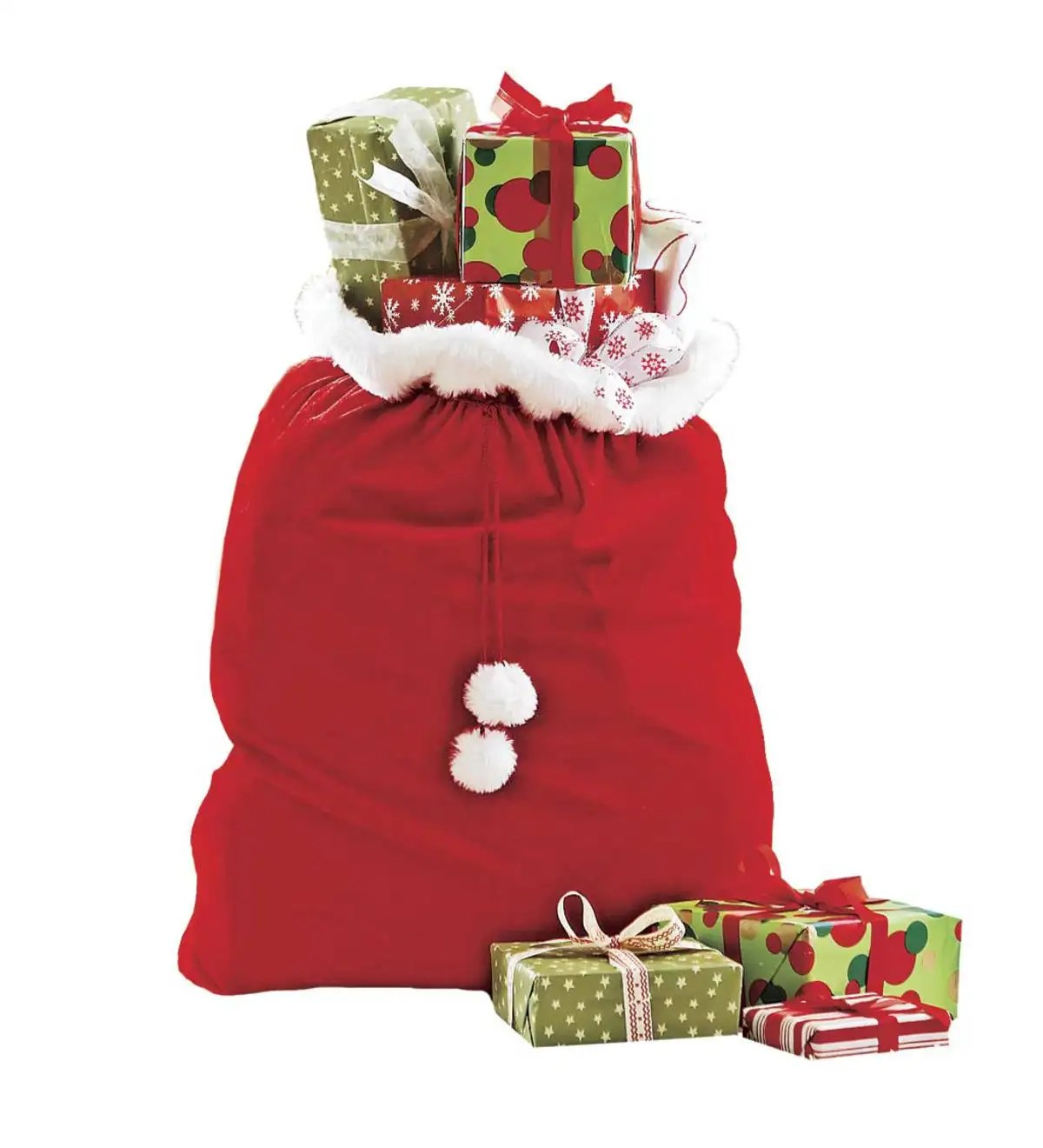 Velvet Santa S T Sack With Cord Drawstring