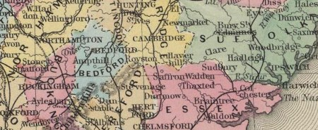 England and Wales 1860 Historic Map Reprint by S  Augustus Mitchell Detail of England and Wales 1860 Historic Map by S  Augustus Mitchell