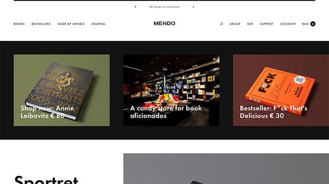 Screenshot of the Mendo website, made with WordPress