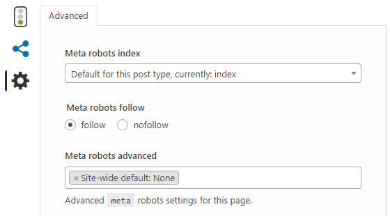 Screenshot of the Yoast plug-in showing the Advanced features tab in the individual posts